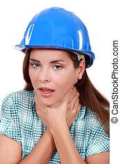 craftswoman choking herself