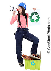 craftswoman holding a megaphone and a recycling label