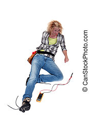 craftswoman lying down after an electric shock
