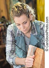 craftswoman, oficina, femininas, dela, feliz