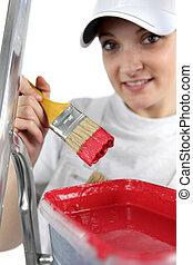 craftswoman painter working