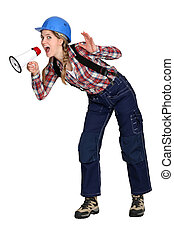 craftswoman shouting in loudspeaker