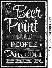 craie, affiche, bière, point