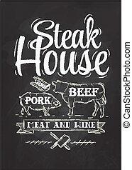 craie, affiche, bifteck, maison