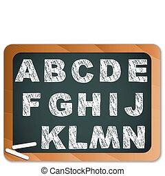 craie, alphabet, tableau noir