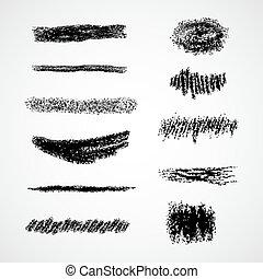craie, brushes., vecteur, lignes, ou