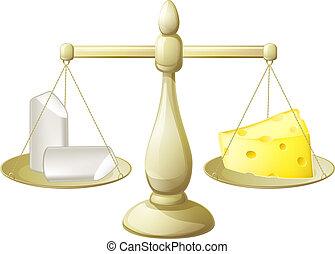 craie, comparer, fromage, balances