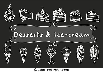 craie, desserts, set., glace