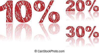 craie, ensemble, écrit, pourcentages, -, vente, 1, 3, rouges