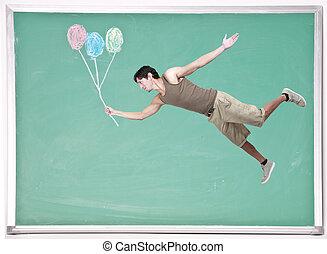 craie, flotter, ballons, homme