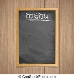 craie, fond, armature bois, menu., inscription