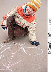 craie, garçon, dessin, asphalte