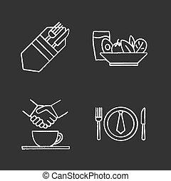 craie, icones affaires, ensemble, déjeuner