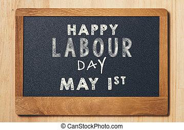 craie, mai, texte, main-d'œuvre, day., workers', jour, planche, petit, international, jour, 1.