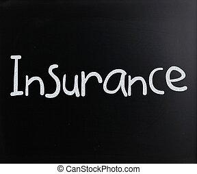 """craie, mot, blanc, tableau noir, manuscrit, """"insurance"""""""