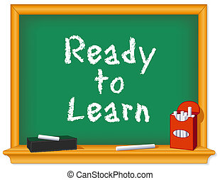 craie, prêt, planche, apprendre