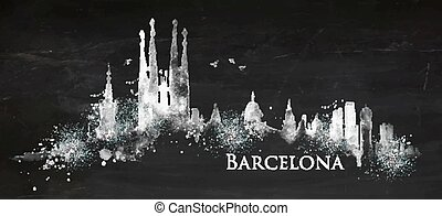 craie, silhouette, barcelone