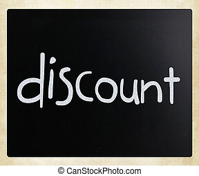 """craie, tableau noir, blanc, manuscrit, """"discount"""""""