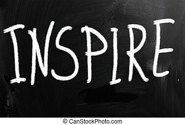 """craie, tableau noir, blanc, manuscrit, """"inspire"""""""