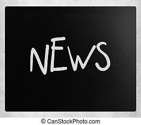 """craie, tableau noir, blanc, """"news"""", manuscrit"""