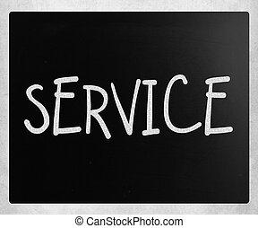 """craie, tableau noir, blanc, """"service"""", manuscrit"""