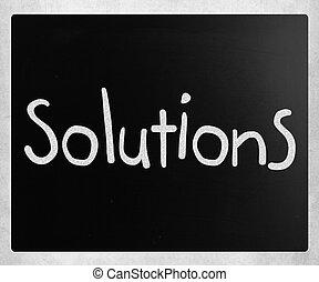 """craie, tableau noir, blanc, """"solutions"""", manuscrit"""