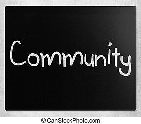 """craie, tableau noir, """"community"""", blanc, manuscrit"""