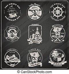 craie, tableau noir, emblèmes, ensemble, pirate