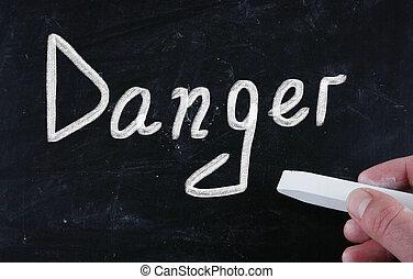 craie, tableau noir, manuscrit, danger
