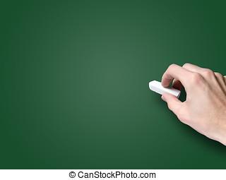 craie, tableau noir, vide, main