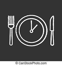 craie, temps déjeuner, icône
