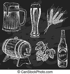 craie, vendange, bière, planche