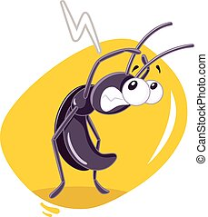 craintif, insecte, vecteur, dessin animé, cafard
