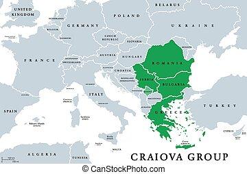 Craiova Group (Quadrilateral) member states political map. ...