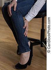 Cramp in calf - Acute cramp in calf at workplace