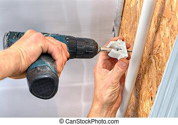 crampon, mur, fixation, canaux transmission, screwdriver., utilisation