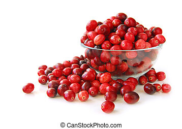 Cranberries in a bowl - Fresh red cranberries in a glass ...