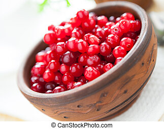 cranberries in a ceramic bowl