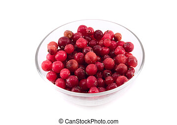 cranberries in a glass bowl isolated on white