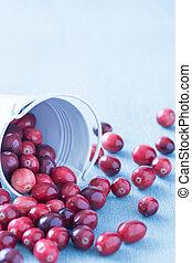 Cranberries in a white fallen over bucket
