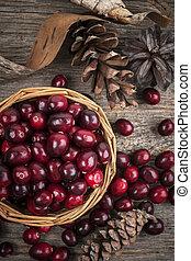 Cranberries in basket - Fresh ripe cranberries in basket on ...