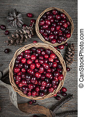 Cranberries in baskets - Fresh ripe cranberries in two ...