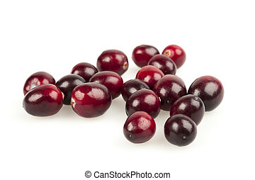 Cranberries on white - Several fresh red ripe cranberries ...