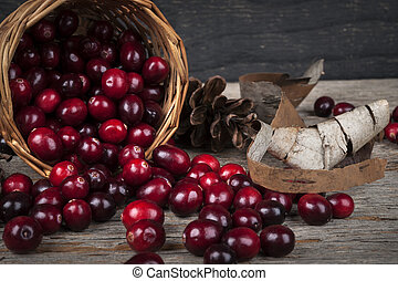 Cranberries still life - Fresh ripe cranberries spilling out...