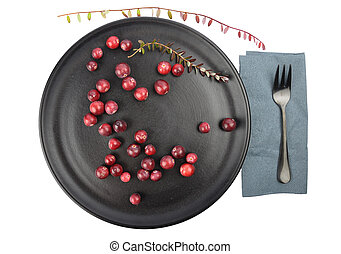 Cranberries with twig and plate on white
