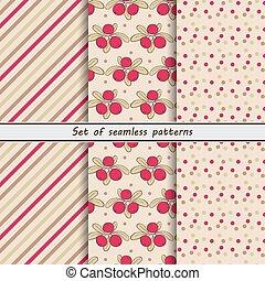 Cranberry, a set of seamless patter