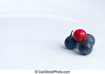 Cranberry and blue berries on a white plate