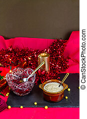 Cranberry and bread sauce in bowls ready for Christmas, landscape, copyspace
