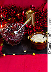 Cranberry and bread sauce in bowls ready for Christmas, landscape, portrait