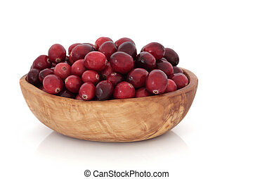 Cranberry Fruit - Cranberry fruit in an olive wood bowl,...